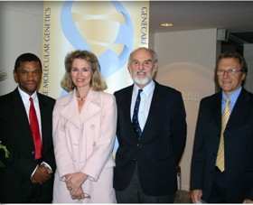 Prof Anthony Mbewu, Dr Maritha Kotze, Prof Peter Beighton and Dr Tony Bunn